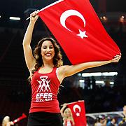 Anadolu Efes's cheerleaders perform during their Turkish Airlines Euroleague Beskatball Top 16 Game 3 Anadolu Efes between Alba Berlin at Abdi Ipekci Arena in Istanbul Turkey on Friday 11 January 2013. Photo by Aykut AKICI/TURKPIX
