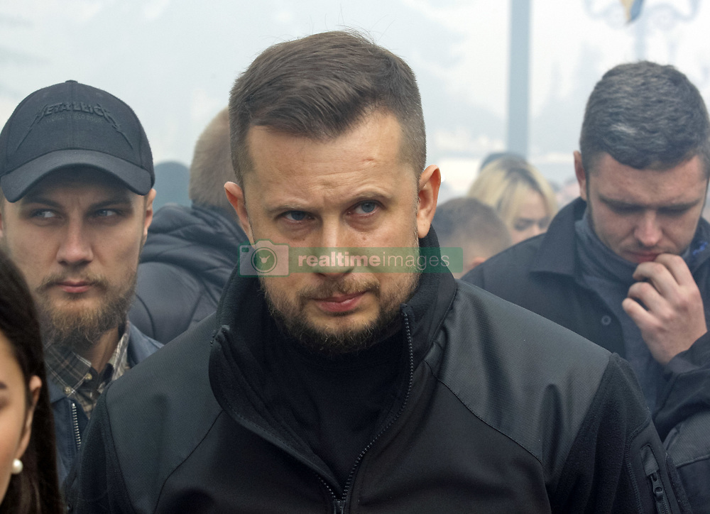 October 2, 2018 - Kiev, Ukraine - Leader of National Corps Party Andriy Biletsky attends a protest with demand to Parliament accept the law 3433 for grant official status for foreign volunteers and for a simplified procedure for obtaining Ukrainian citizenship, in front of the Ukrainian Parliament in Kiev, Ukraine, 02 October, 2018. Ukrainian activists protest in front of Ukrainian Parliament with demand to grant official status for foreign volunteers who fight along government forces against pro-Russian separatists in eastern regions of Ukraine. (Credit Image: © Str/NurPhoto/ZUMA Press)