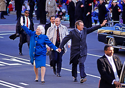 United States President George H.W. Bush and first lady Barbara Bush lead the Inaugural Parade down Pennsylvania Avenue after he was sworn-in as 41st President of the United States at the US Capitol on January 20, 1989. Photo by Ron Sachs / CNP /ABACAPRESS.COM