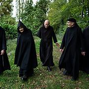 Monks from the community of Solesmes during their weekly walk on the Sarthe banks. Solesmes on 17-10-2019<br /> Des moines de la communauté de Solesmes au cours de  leur promenade hebdomadaire sur les bords de la Sarthe. Solesmes le 17-10-2019