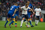 Spurs Harry Kane (10) takes AFC Wimbledon Barry Fuller (2) during the The FA Cup 3rd round match between Tottenham Hotspur and AFC Wimbledon at Wembley Stadium, London, England on 7 January 2018. Photo by Robin Pope.