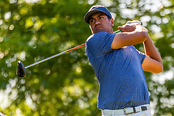 May 2, 2019 - Charlotte, NC, U.S. - CHARLOTTE, NC - MAY 02: Tony Finau tees off on the 16th hole during the first round of the Wells Fargo Championship at Quail Hollow on May 2, 2019 in Charlotte, NC. (Photo by William Howard/Icon Sportswire) (Credit Image: © William Howard/Icon SMI via ZUMA Press)