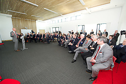 NEWPORT, WALES - Saturday, April 20, 2013: FAW Head of pubic affairs Ian Gwyn Hughes at the opening of the FAW National Development Centre in Newport. (Pic by David Rawcliffe/Propaganda)