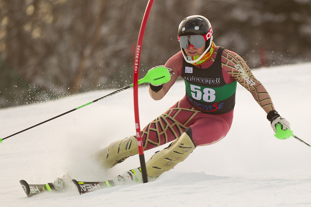 Keith Schuman of Boston College, skis during the first run of the men's slalom at the Colby College Carnival at Sugarloaf Mountain on January 18, 2014 in Carabassett Valley, ME. (Dustin Satloff/EISA)