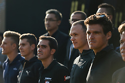 October 28, 2017 - Shanghai, China - (Left-Right) Marcel KITTEL, Alberto CONTADOR, Warren BARGUIL, Christopher FROOME and Greg Van AVERMAET, during the 1st TDF Shanghai Criterium 2017 - Media Day..On Saturday, 28 October 2017, in Shanghai, China. (Credit Image: © Artur Widak/NurPhoto via ZUMA Press)
