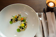 New York, NY, - December 8, 2013. Cold smoked scallops with cucumbers, black garlic, pears and sea beans at The Musket Room, 265 Elizabeth St.