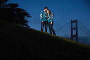 Bride and Groom poses for their engagment portraits in San Francisco, California, near Fort Mason and the Golden Gate Bridge on May 1, 2016. (Stan Olszewski/SOSKIphoto)