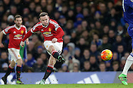 Wayne Rooney, the Manchester United captain takes a shot at goal. Barclays Premier league match, Chelsea v Manchester Utd at Stamford Bridge in London on Sunday 7th February 2016.<br /> pic by John Patrick Fletcher, Andrew Orchard sports photography.