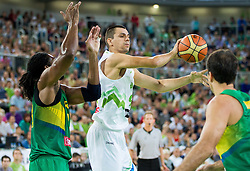 Jure Balazic of Slovenia during friendly basketball match between National Teams of Slovenia and Brasil at Day 2 of Telemach Tournament on August 22, 2014 in Arena Stozice, Ljubljana, Slovenia. Photo by Vid Ponikvar / Sportida