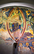 Second half of the twelfth Century Romanesque frescoes of the Apse d'Esterri de Cardos depicting Christ Pantocrator. The church of Sant Pau d'Estirri de Cardos, Spain. National Art Museum of Catalonia, Barcelona. MNAC 15970 .<br /> <br /> If you prefer you can also buy from our ALAMY PHOTO LIBRARY  Collection visit : https://www.alamy.com/portfolio/paul-williams-funkystock/romanesque-art-antiquities.html<br /> Type -     MNAC     - into the LOWER SEARCH WITHIN GALLERY box. Refine search by adding background colour, place, subject etc<br /> <br /> Visit our ROMANESQUE ART PHOTO COLLECTION for more   photos  to download or buy as prints https://funkystock.photoshelter.com/gallery-collection/Medieval-Romanesque-Art-Antiquities-Historic-Sites-Pictures-Images-of/C0000uYGQT94tY_Y