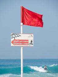 Surfing area at Jumeirah public beach in Dubai in United Arab Emirates