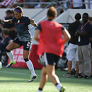 U.S. forward Sydney Leroux (2) warms up prior to a women's soccer International friendly match between Brazil and the United States National Team, at the Florida Citrus Bowl  on Sunday, November 10, 2013 in Orlando, Florida. The U.S won the game by a score of 4-1.  (AP Photo/Alex Menendez)