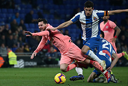 December 8, 2018 - Barcelona, Catalonia, Spain - Leo Messi and Javi Lopez during the match between RCD Espanyol and FC Barcelona, corresponding to the week 15 of the spanish league, played at the RCD Espanyol Stadium on 08th December 2018 in Barcelona, Spain. Photo: Joan Valls/Urbanandsport /NurPhoto. (Credit Image: © Joan Valls/NurPhoto via ZUMA Press)