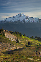 Glacier Peak seen from Miner's Ridge, Glacier Peak Wilderness North Cascades Washington.<br /> <br /> Glacier Peak (10,541′) or Dakobed is the most isolated of the five major stratovolcanoes of the Cascade Volcanic Arc.