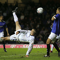 Rangers v St Johnstone....  CIS Cup Quarter Final<br /> Steven Milne's overhead kick to open the scoring<br /> Picture by Graeme Hart.<br /> Copyright Perthshire Picture Agency