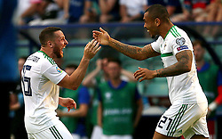 Northern Ireland's Conor Washington celebrates scoring his side's first goal of the game during the UEFA Euro 2020 Qualifying, Group C match at A. Le Coq Arena, Tallinn.