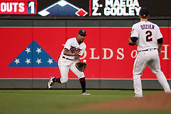 August 8, 2017 - Minneapolis, MN, USA - Minnesota Twins center fielder Byron Buxton fields a ball hit by the Milwaukee Brewers' Hernan Perez in the second inning at Target Field in Minneapolis on Tuesday, Aug. 8, 2017. (Credit Image: © Anthony Souffle/TNS via ZUMA Wire)