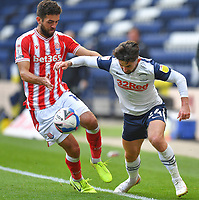 Preston North End's Sean Maguire battles with Stoke City's Tommy Smith<br /> <br /> Photographer Dave Howarth/CameraSport<br /> <br /> The EFL Sky Bet Championship - Preston North End v Stoke City - Saturday 26th September 2020 - Deepdale - Preston <br /> <br /> World Copyright © 2020 CameraSport. All rights reserved. 43 Linden Ave. Countesthorpe. Leicester. England. LE8 5PG - Tel: +44 (0) 116 277 4147 - admin@camerasport.com - www.camerasport.com