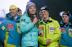 Mitja Valencic, Tina Maze and Zan Kranjec during reception of Slovenian Winter sports Athletes after success at World Championships, on March 19, 2012 in Kongresni trg, Ljubljana, Slovenia. (Photo by Vid Ponikvar / Sportida.com)