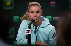 March 9, 2019 - Indian Wells, USA - Angelique Kerber of Germany talks to the media after her second-round match at the 2019 BNP Paribas Open WTA Premier Mandatory tennis tournament (Credit Image: © AFP7 via ZUMA Wire)