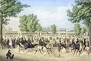 Machine colorized (AI) The Iron Fountain Pavilion and the Arkadenbau in Bad Kissingen, Germany. lithograph by Christian Weiss and H kuber 1850