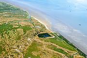 Nederland, Friesland, Terschelling, 05-08-2014;  eendenkooi (Rimkeskooi), De Groede (begin van de Boschplaat).<br /> Wadden island Terschelling with decoy in saltmarsh.<br /> luchtfoto (toeslag op standard tarieven);<br /> aerial photo (additional fee required);<br /> copyright foto/photo Siebe Swart