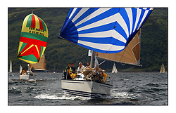 Yachting- The first days inshore racing  of the Bell Lawrie Scottish series 2002 at Tarbert Loch Fyne. Near perfect conditions saw over two hundred yachts compete. <br />Eauvation 4 First 33.7 GBR9698 and Roxanne an X332 GBR7051T class 3<br />Pics Marc Turner / PFM
