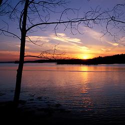 Great Bay Bational Wildlife Refuge at Sunset. March.  Newington, NH