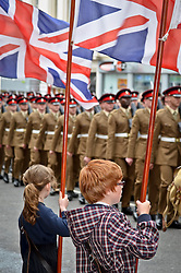 © licensed to London News Pictures. BRIGHTON, UK  22/06/11. Parade by the Second Battalion, the Princess of Wales's Royal Regiment, through the city of Brighton today (Wednesday 22 June '11) following their recent return from Afghanistan. Around 220 soldiers marched from the Peace Statue on Brighton seafront, through the city centre and up to New Road in a 40-minute parade.. Please see special instructions. Photo credit should read Stephen Simpson/LNP