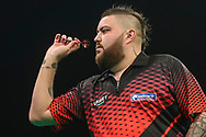 Michael Smith during the Unibet Premier League darts at Motorpoint Arena, Cardiff, Wales on 20 February 2020.