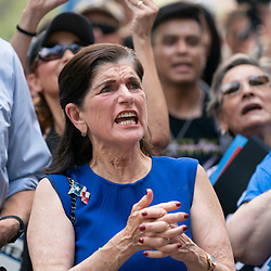 Almost a thousand Texas Democrats, including LUCI BAINES JOHNSON rally at the State Capitol supporting voting rights bills stalled in Congress and decrying Republican efforts to thwart voter registration and access to the polls. Johnson's father, Lyndon Baines Johnson (LBJ), signed the Voting Rights Act in 1965 when he was U.S. President.