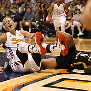 Katie Douglas, (left), Connecticut Sun, reacts after being called for a foul while rejecting Odyssey Sims, (right), Tulsa Shock, during the Connecticut Sun Vs Tulsa Shock WNBA regular season game at Mohegan Sun Arena, Uncasville, Connecticut, USA. 3rd July 2014. Photo Tim Clayton