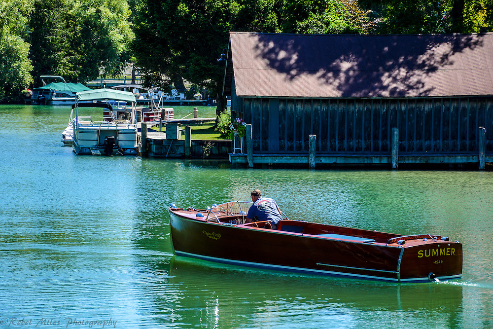 """An Old Woody Appropriately Named """"Summer"""" On The Leeland River In Leeland, Michigan."""