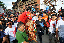 September 15, 2016 - Kathmandu, Nepal - A mask dancer 'Lakhay', dancing in the traditional ritual tunes of drums on the third day of Indra Jatra Festival celebrated at Basantapur Durbar Square. Devotees celebrated the god of rain 'Indra' for 8 days in Kathmandu. (Credit Image: © Narayan Maharjan/Pacific Press via ZUMA Wire)