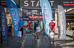From the left side: 2nd. Pintaric Blaza (Pintatim), 1st. Zakelj Tanja (Unior-Sinter), 3rd. Bosnjak Larisa CRO (BBK Sismis)during the medal ceremony of XCO National Championship of Slovenia 2021 on 27.06.2021 in Kamnik, Slovenia. Photo by Urban Meglič / Sportida