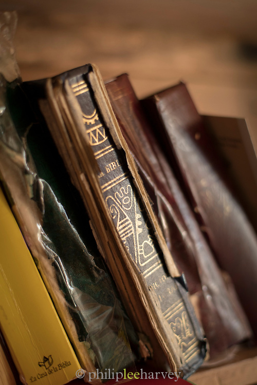 Close up of old, eroded Bible in Church of Vilupulli, Chiloe Island, Chile