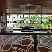 South America, Peru, Amazon. Bar on the M/V Aria.