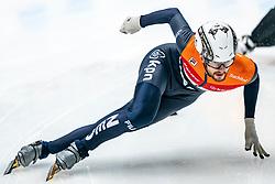 Itzhak de Laat #16 in action on the 500 meter during ISU World Cup Finals Shorttrack 2020 on February 14, 2020 in Optisport Sportboulevard Dordrecht.
