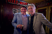 MANHATTAN (July 19, 2016) -- Director of Operations and Finance for the Bob Woodruff Foundation Brett Morash poses for a photo with American film & television icon Tom Skerritt, who is spending time with U.S. military service veterans that are members of the group Veterans of Wall Street (VOWS), at Foley's Irish Pub in downtown Manhattan.  As a special guest of the Bob Woodruff Foundation, Skerritt talked about his program The Red Badge Project, a storytelling workshop designed to support veterans suffering from post traumatic stress and traumatic brain injury.  Photo by Johnny Bivera