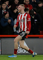 Sheffield United's Oliver McBurnie celebrates scoring the opening goal <br /> <br /> Photographer Rich Linley/CameraSport<br /> <br /> The Premier League - Sheffield United v West Ham United - Friday 10th January 2020 - Bramall Lane - Sheffield <br /> <br /> World Copyright © 2020 CameraSport. All rights reserved. 43 Linden Ave. Countesthorpe. Leicester. England. LE8 5PG - Tel: +44 (0) 116 277 4147 - admin@camerasport.com - www.camerasport.com