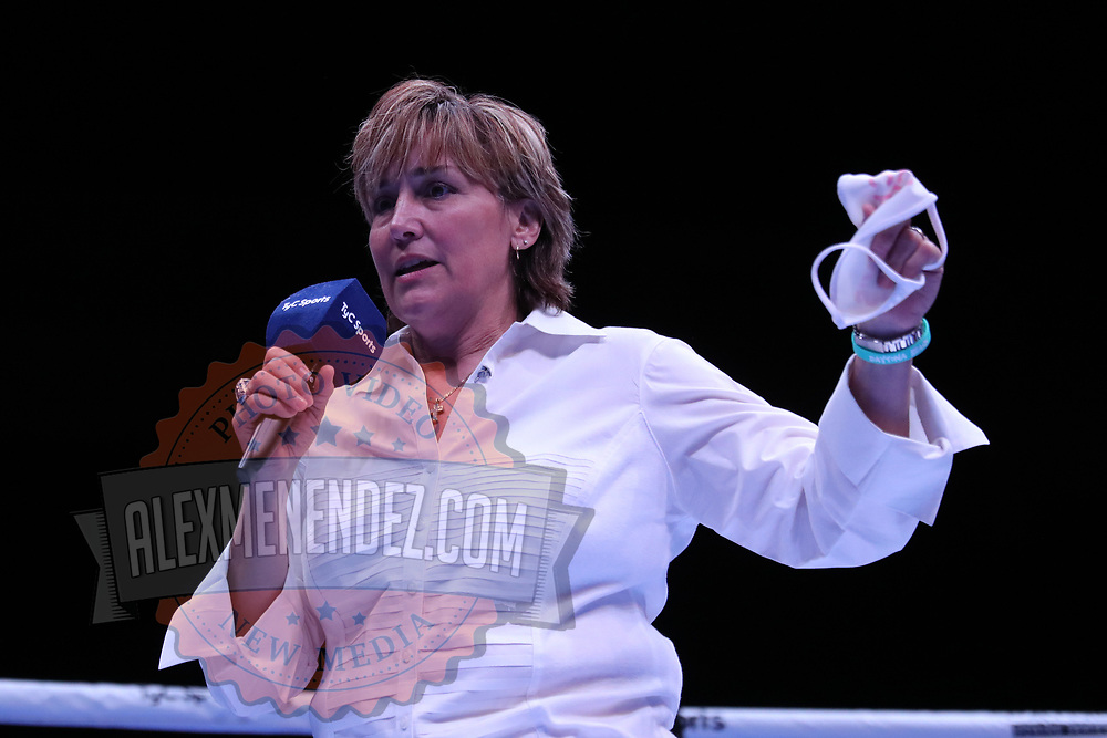 DAYTONA BEACH, FL - AUGUST 15: Promoter Christy Martin speaks in the ring during the Alberto Ignacio Palmetta v Tre'Sean Wiggins boxing match at the Ocean Center on August 15, 2020 in Daytona Beach, Florida. (Photo by Alex Menendez/Getty Images) *** Local Caption *** Christy Martin