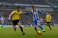 Football - 2016 / 2017 Sky Bet Championship - Brighton & Hove Albion vs. Burton Albion<br /> <br /> Brighton's Solly March and John Mousinho of Burton Albion in action at the Amex Stadium Brighton<br /> <br /> COLORSPORT/SHAUN BOGGUST
