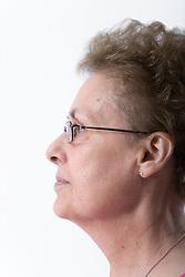 Portrait of an older woman in profile,