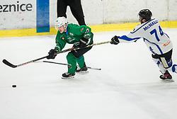 Anej Kujavec of SZ Olimpija vs  Brandon McNally of Broncos during ice hockey match between HK SZ Olimpija and WSV Sterzing Broncos Weihenstephan (ITA) in Round #12 of AHL - Alps Hockey League 2018/19, on October 30, 2018, in Hala Tivoli, Ljubljana, Slovenia. Photo by Vid Ponikvar / Sportida