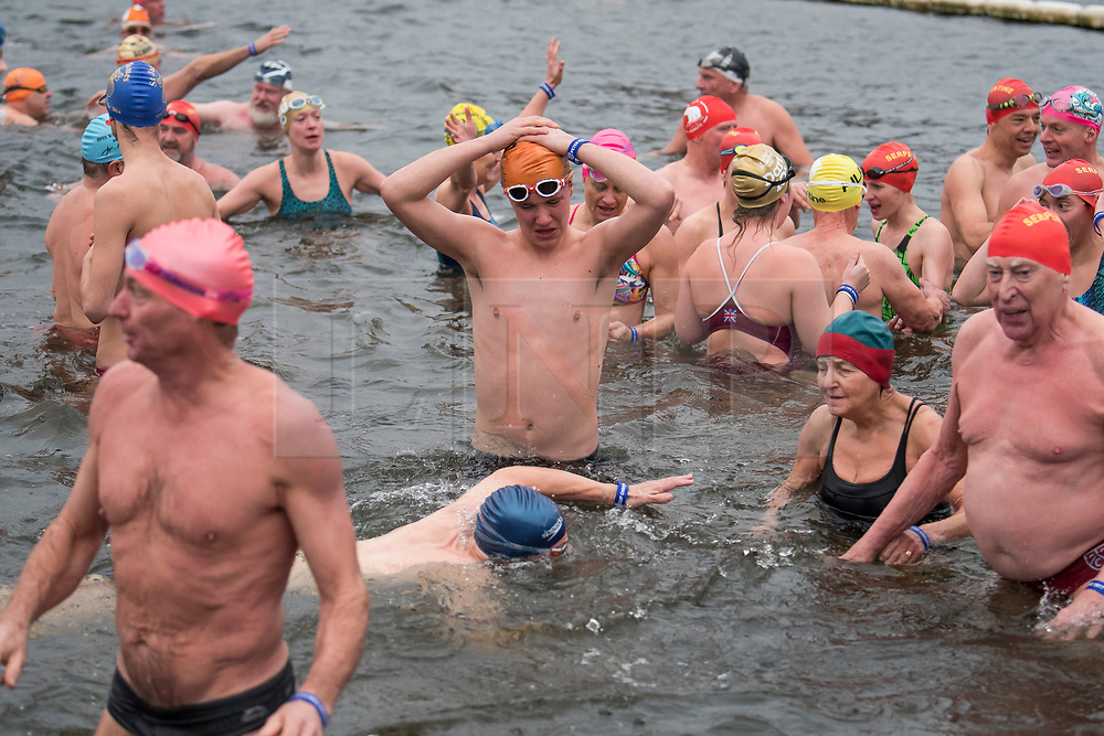 © Licensed to London News Pictures. 25/12/2017. London, UK. Swimmers at the end of the race. Members of the Serpentine Swimming Club brave the cold waters at the Serpentine Lake in Hyde Park, London to compete for the traditional Peter Pan Cup on Christmas Day, December 25, 2017. Photo credit: Ben Cawthra/LNP