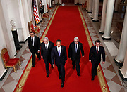U.S. President Barack Obama (C) walks through the Cross Hall on their way to the East Room with the four leaders taking part in the Middle East peace talks in the East Room at the White House in Washington, September 1, 2010. They are Israeli Prime Minister Benjamin Netanyahum (2nd L), Palestinian President Mahmoud Abbas (2nd R), Jordan's King Abdullah II (R), and Egypt's President Hosni Mubarak.  REUTERS/Jim Young