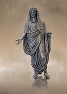 Full length frontal view of Roman bronze staue of Augustus Ceasar as Pontifex Maximus, late first century B.C, Naples National Archaeological Museum ..<br /> <br /> If you prefer to buy from our ALAMY STOCK LIBRARY page at https://www.alamy.com/portfolio/paul-williams-funkystock/greco-roman-sculptures.html . Type -    Naples    - into LOWER SEARCH WITHIN GALLERY box - Refine search by adding a subject, place, background colour, museum etc.<br /> <br /> Visit our ROMAN WORLD PHOTO COLLECTIONS for more photos to download or buy as wall art prints https://funkystock.photoshelter.com/gallery-collection/The-Romans-Art-Artefacts-Antiquities-Historic-Sites-Pictures-Images/C0000r2uLJJo9_s0