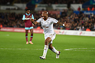Andre Ayew of Swansea city reacts towards the assistant referee after a decision goes against him. Barclays Premier league match, Swansea city v West Ham Utd at the Liberty Stadium in Swansea, South Wales  on Sunday 20th December 2015.<br /> pic by  Andrew Orchard, Andrew Orchard sports photography.