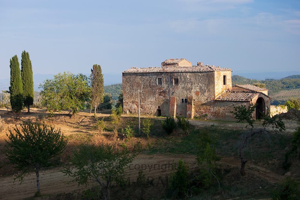 Ancient Tuscan architecture of podere farmhouse near Monticchiello in Val D'Orcia, Tuscany, Italy