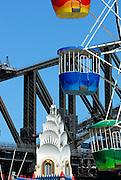 Tower, Ferris Wheel and Sydney Harbour Bridge. Luna Park, Sydney, Australia